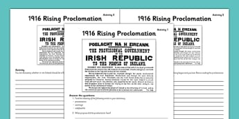 1916 Rising Proclamation Worksheets - Easter 1916 Rising, irish history, proclamation of ireland, poblacht na heireann, worksheet
