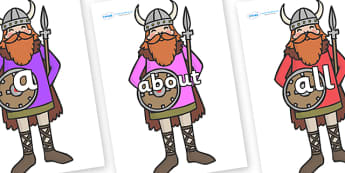 100 High Frequency Words on Vikings - High frequency words, hfw, DfES Letters and Sounds, Letters and Sounds, display words