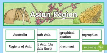 Asian Region Display Pack - geography, year 6, header, title, topic, wall,ACHASSK138,Australia