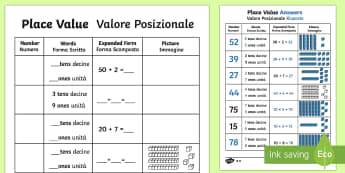 Place Value Activity Sheet Italian Translation Italian Translation - Place Value Activity Sheet - place value, number worksheet, ks2 numeracy worksheets, tens and units,
