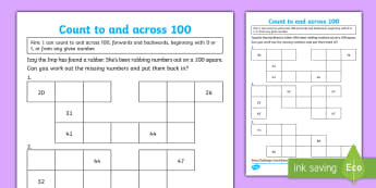 Year 1 Count to and across 100 Maths Mastery Activity Sheet - depth, concrete, reason, discuss, pattern, fluency, reasoning, problem solving, white rose,