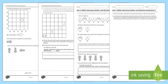 Year 2 Maths Geometry Position and Direction Assessment 2 - maths, year2, geometry, position, direction, location, Australia, maths assessment