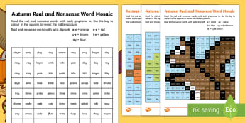 Autumn Phase 5 Phonics Mosaic Activity Sheets - decode, fluency, seasons, segment, blend, worksheet