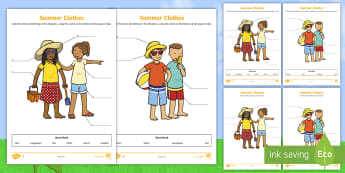 Summer Clothes Labelling Differentiated Activity Sheets - Autumn, seasons, eal labelling, eal labeling, september, october, topics, ks1, harvest, clothes, clo