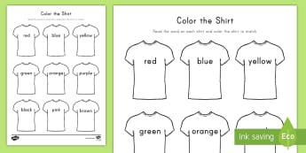 Color the T-Shirt Worksheet / Activity Sheet - Color Words, Sight Words, Clothes Unit, Clothing Unit, Color the Word, worksheet