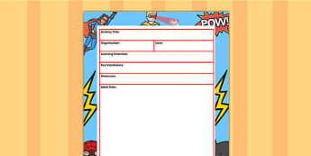 Superhero Themed Adult Led Carpet Based Activity Plan Template