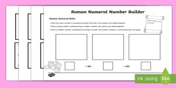 Roman Numerals Number Building Game - roman numerals, romans, number building games, number games, building games, number building, roman games, games