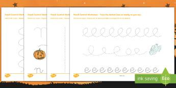 Halloween Pencil Control Activity Sheets English/French  -  halloween, pencil control worksheets, fine motor skills, fine motor worksheets, halloween worksheet