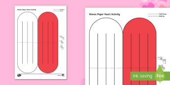 Simple Woven Paper Heart Activity Paper Craft - heart, paper, valentines, love, origami, craft