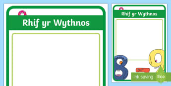 Number of the Week Display Poster Welsh - Welsh, Maths, Welsh Display, siarter iaith, maths display