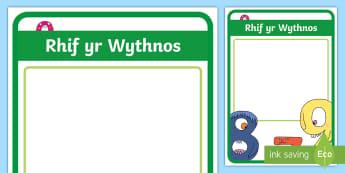 Poster Arddangos Rhif yr Wythnos - rhif yr wythnos, number of the week, rhifedd, mathemateg, numeracy, arddangosfa, posteri,Welsh-trans