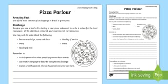Pizza Parlour Activity Sheet - amazing fact august, restaurant review, pizza, recount, review, newspaper, food critic, worksheet