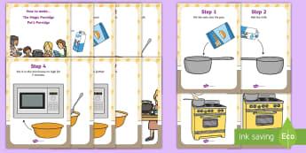 The Magic Porridge Pot Recipe Cards -  instructions, cook, make, traditional tales, oats, milk.