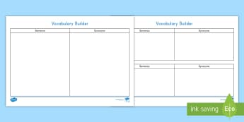 Vocabulary Builder Activity Sheet - Language, Vocabulary, Synonym, Definition, Dictionary, worksheet