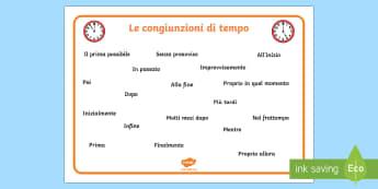 Le Congiunzioni di Tempo - grammatica, congiunzioni, temporali, di tempo, italiano, italian