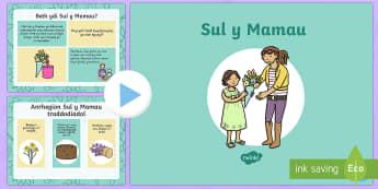 Pŵerbwynt Sul y Mamau (ADY) - Sul y Mamau, Mother's Day, Eglwys, Church, gift, anrheg, flowers, blodau, diolch, thank you, traddo
