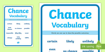Chance Vocabulary Display Poster - Australian Curriculum Statistics and Probability, year 3, chance, chance experiment, repeated trials