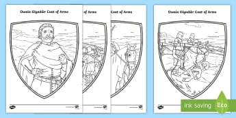Owain Glyndŵr Mindfulness Colouring Pages - Castell,Castle, Cymru, wales, armour, arfwisg, coat of arms