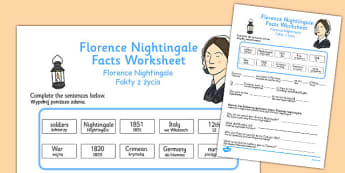 Florence Nightingale Fact Worksheets Polish Translation - polish, florence nightingale, fact, worksheets