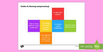 Kostka do klasowej autoprezentacji - integracja, integracyjna, rozpoczęcie, pierwsze, prezentacja, autoprezentacja,Polish