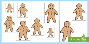 Gingerbread Man Height Ordering Cut and Stick Activity - Beanstalk Height Ordering Pictures - beanstalk, height, ordering, pictures, order, different, images