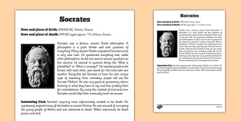 Socrates Significant Individual Fact Sheet - socratic questioning, questioning, discussion, philosophy
