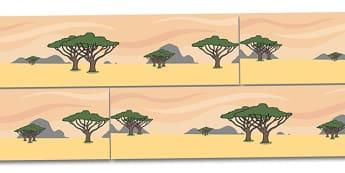 Small World Background (Safari) - Small World, backdrop, background, scenery, small world area, small world display, small world resources, safari, africa, lion, tiger, plain