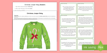 Christmas Jumper Relay Race Activity - Christmas, jumper, relay, race, maths