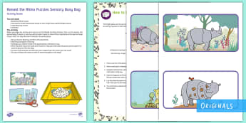 Ronald the Rhino Puzzles Sensory Busy Bag Resource Pack for Parents - Rhinoceros, twinkl fiction, rice, sensory tray, sensory play