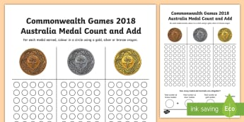 Commonwealth Games 2018 Australia Medals Count and Add Activity Sheet - Australian Requests,Australia, tally, tracker, worksheet, activity sheet,Australia