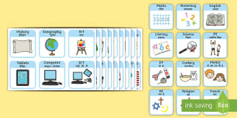 Visual Timetable for School Topic Words on Topic Images - SEN Visual Timetable for School - sen visual timetable, school visual timetable, simple visual timet