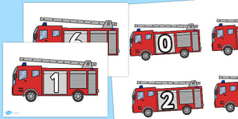 Numbers on Fire Engines 0-10 - numbers, fire engines, 0-10, fire, engine