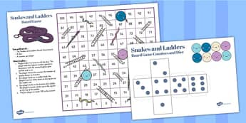 Snakes And Ladders Game (1-100) - snakes and ladders, 1-100, game, activity, numeracy, maths, calculation