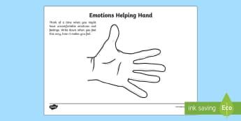 Mindful Me: Emotions Helping Hand Activity Sheet - Mindfulness, worksheet, anger management, feeling, emotion.