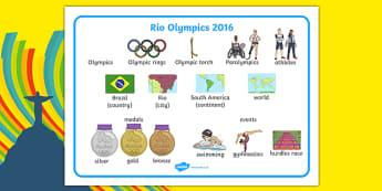 Rio Olympics 2016 SEN Word Mat