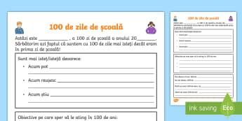 100 de zile de școală - Fișă de lucru - 100 de zile de școală, română, materiale, clasa pregătitoare, sărbătoare, 100 de zile, școal