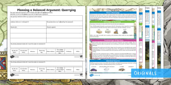Quarrying: Creating a Balanced Argument Differentiated Resource Pack - debate, discussion, discursive, viewpoint, argument, for, against, environment