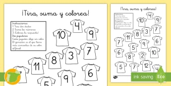 ¡Tira, suma y colorea! - Fútbol - fútbol, deporte, pintar, pinta, colorear, colorea, colores, tira, dado, dados, sumar, sumas, adici