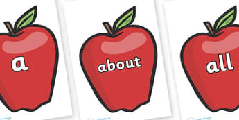 100 High Frequency Words on Red Apples - High frequency words, hfw, DfES Letters and Sounds, Letters and Sounds, display words