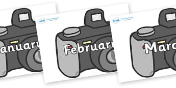 Months of the Year on Cameras - Months of the Year, Months poster, Months display, display, poster, frieze, Months, month, January, February, March, April, May, June, July, August, September