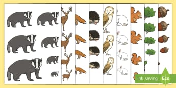 Waldtiere nach Größe ordnen Arbeitsblätter - Waldtiere, Wildtiere, wilde Tiere, im Wald, Größe, ordnen, ausschneiden, vergleichen,German