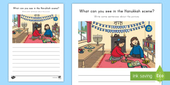 Hanukkah Writing Stimulus Picture - Creative writing, Writing Prompt, Picture Writing Prompt, Independent Writing, Creative Spelling, ju