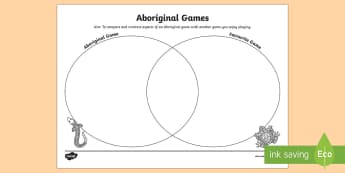 Traditional Aboriginal Game Venn Diagram Activity Sheet - Aboriginal history, Indigenous history, indigenous games, aboriginal culture, australian history,Aus