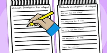 Minibeasts Investigation Lab Notepad - role play, props, animals