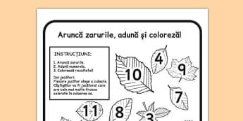 Adună numerele de pe zar și colorează frunzele - Joc