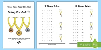 Going for Gold Times Tables Record Booklet - times tables, record times tables, times tables chart, learn times tables, multiplications, tables,