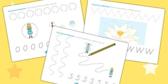 Thumbelina Pencil Control Sheets - fine motor skills, stories