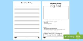 Father's Day Descriptive Writing Activity Sheet - father's day, descriptive writing, writing, adjectives, describing words, description, worksheet ,A