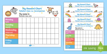 My Reward Chart Pack English/Romanian - School reward, Behaviour chart, SEN chart, EAL, behaviourchart, rountines