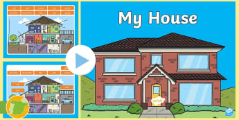 My House Vocabulary PowerPoint Game - Parte de la casa, etiquetar, juego, parts, labels, the house, play, learn, vocabulary, daily life,Sp